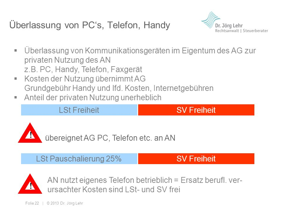 Überlassung von PC's, Telefon, Handy