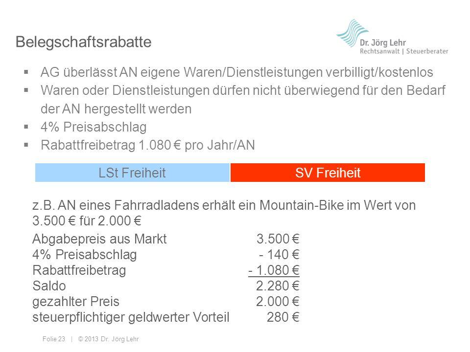 Belegschaftsrabatte AG überlässt AN eigene Waren/Dienstleistungen verbilligt/kostenlos.