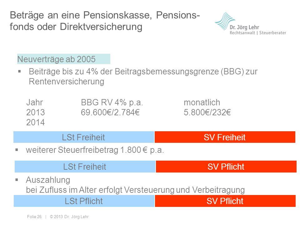 Beträge an eine Pensionskasse, Pensions-fonds oder Direktversicherung