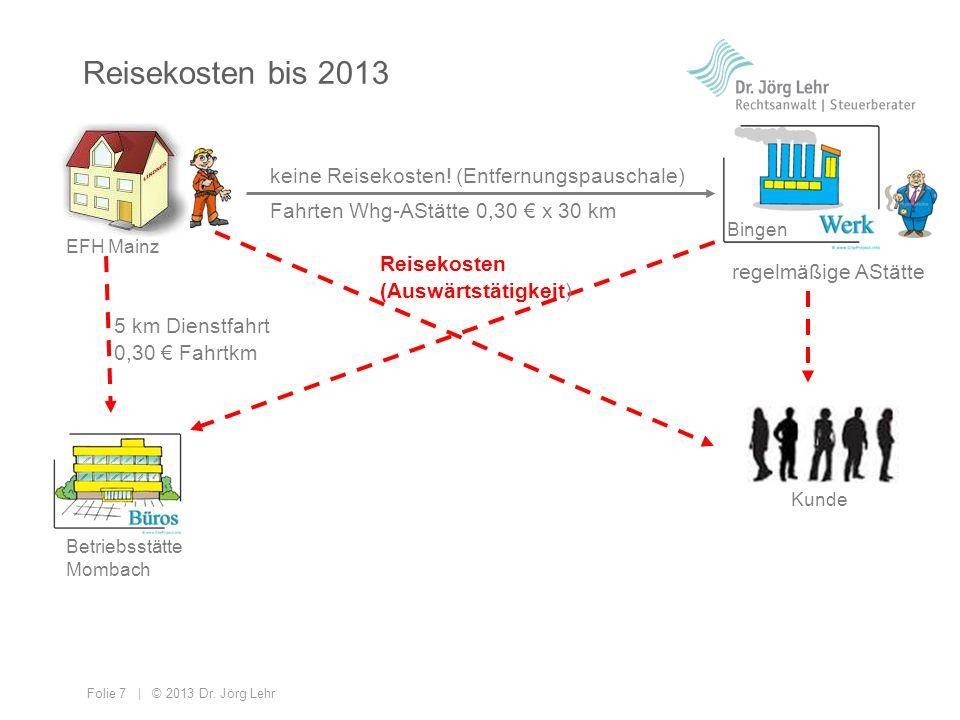 Reisekosten bis 2013 keine Reisekosten! (Entfernungspauschale)