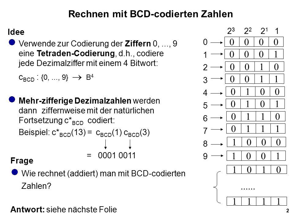 Rechnen mit BCD-codierten Zahlen