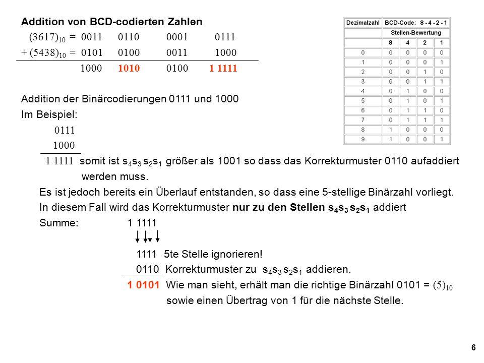 Addition von BCD-codierten Zahlen