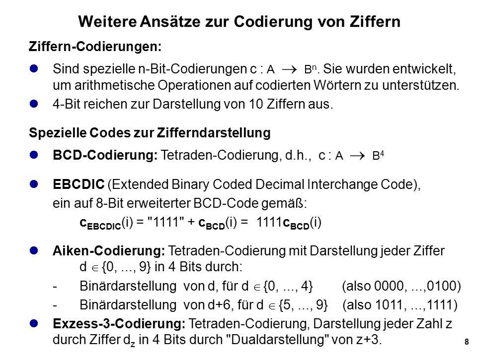Weitere Ansätze zur Codierung von Ziffern