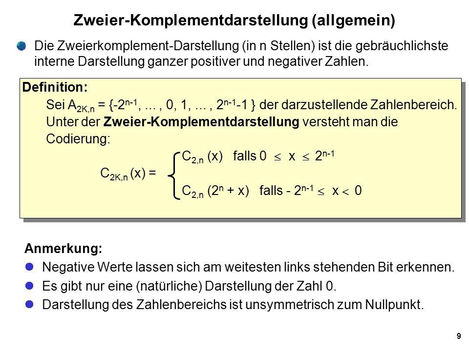 Zweier-Komplementdarstellung (allgemein)