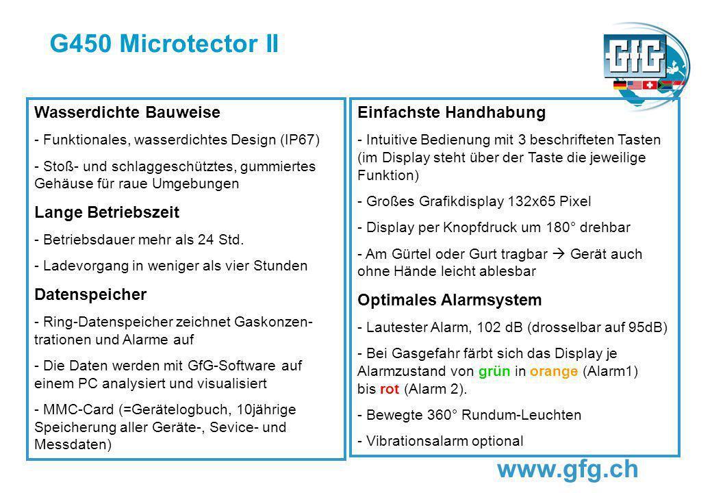 G450 Microtector II www.gfg.ch Wasserdichte Bauweise