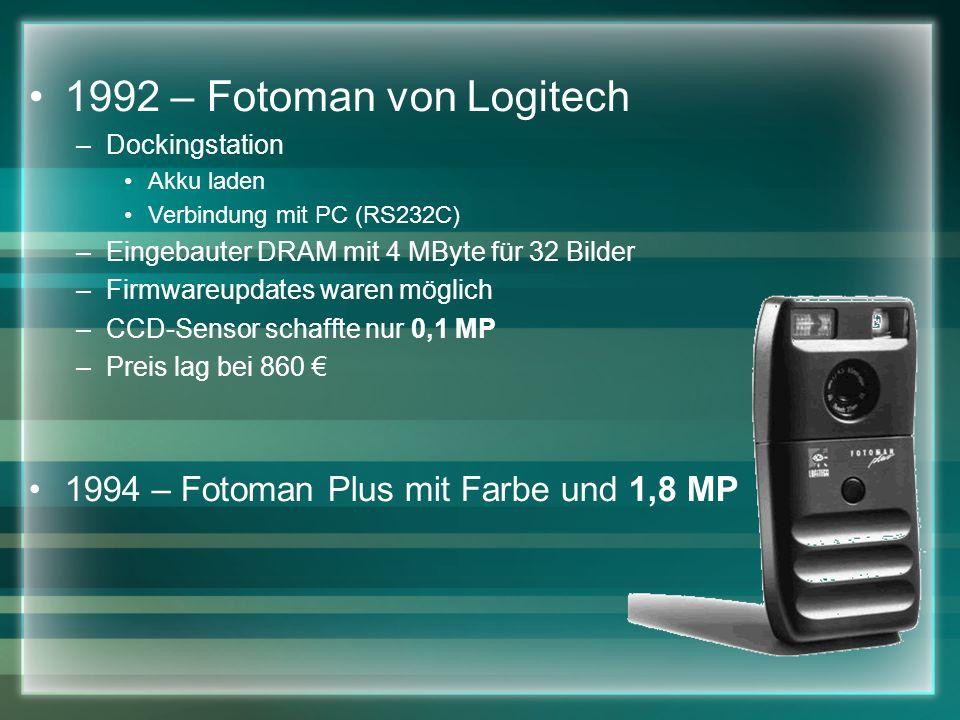 1992 – Fotoman von Logitech 1994 – Fotoman Plus mit Farbe und 1,8 MP