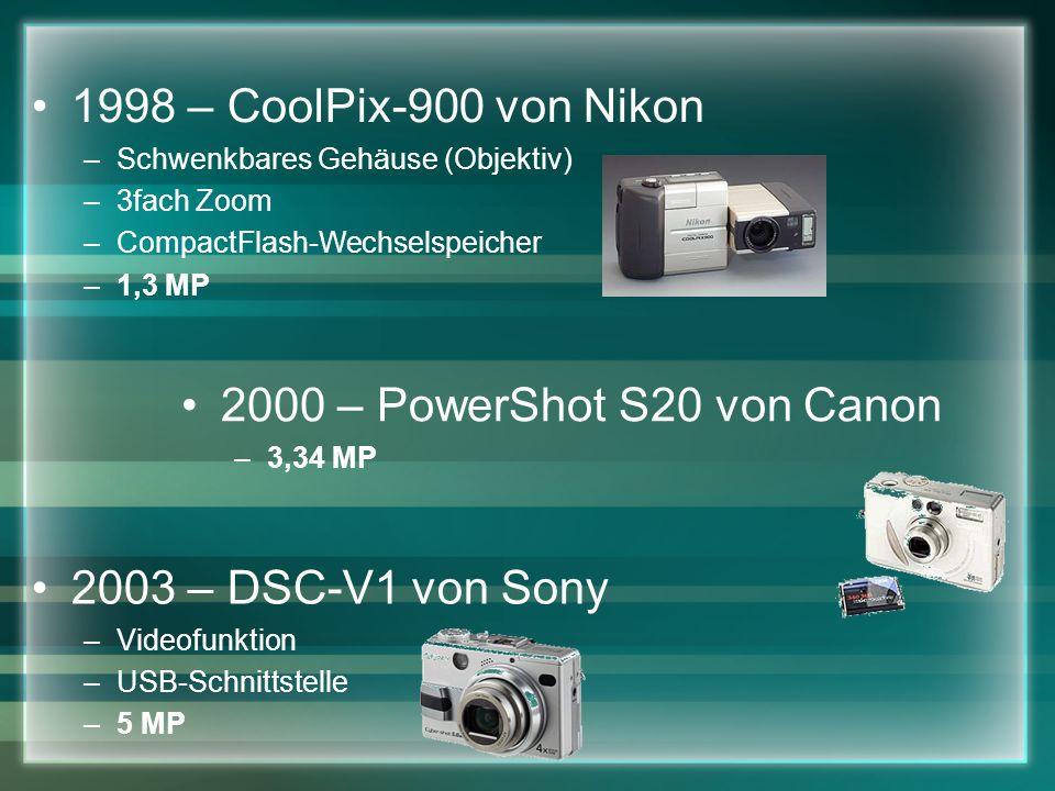 1998 – CoolPix-900 von Nikon 2000 – PowerShot S20 von Canon