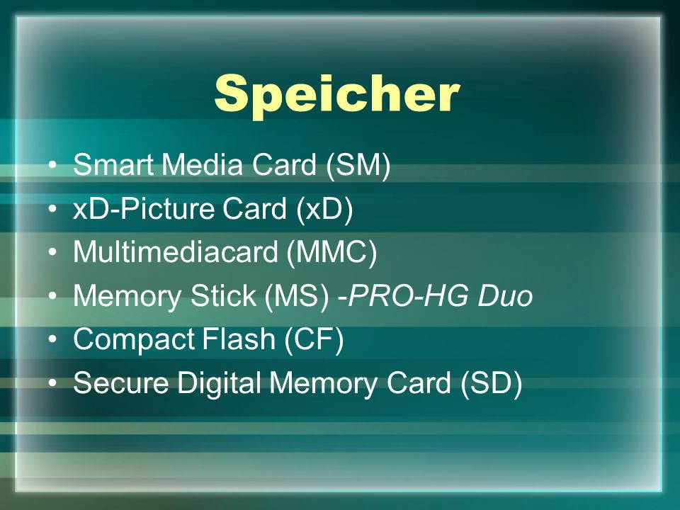 Speicher Smart Media Card (SM) xD-Picture Card (xD)
