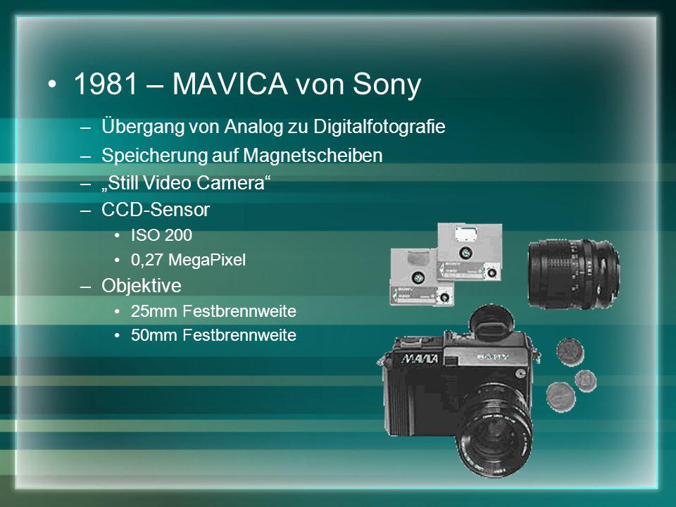 1981 – MAVICA von Sony Übergang von Analog zu Digitalfotografie