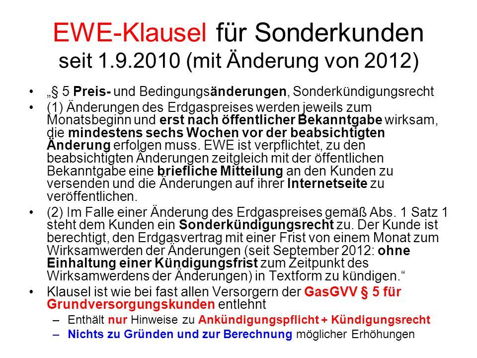 EWE-Klausel für Sonderkunden seit 1.9.2010 (mit Änderung von 2012)
