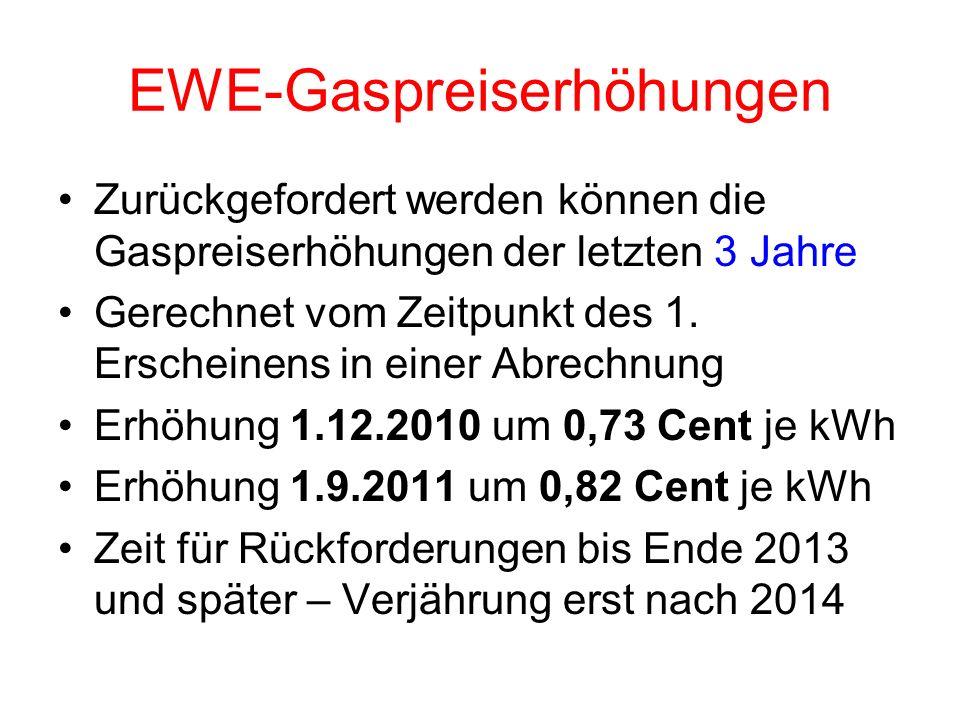 EWE-Gaspreiserhöhungen