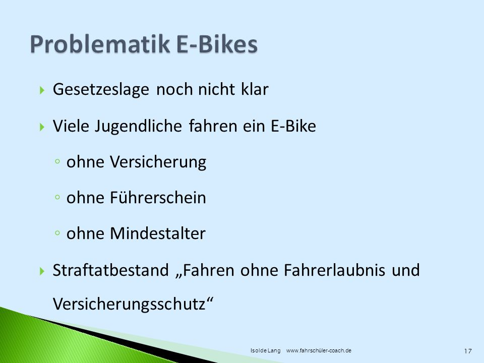 fahrrad pedelec oder lieber e bike fahren ppt video online herunterladen. Black Bedroom Furniture Sets. Home Design Ideas