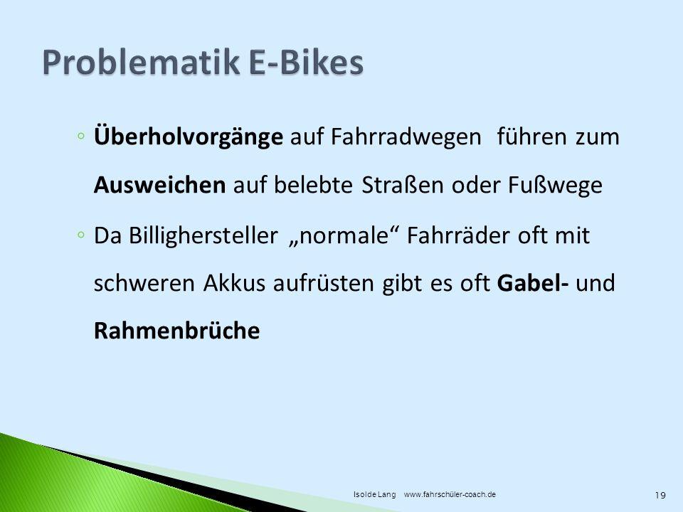 Problematik E-Bikes Überholvorgänge auf Fahrradwegen führen zum Ausweichen auf belebte Straßen oder Fußwege.