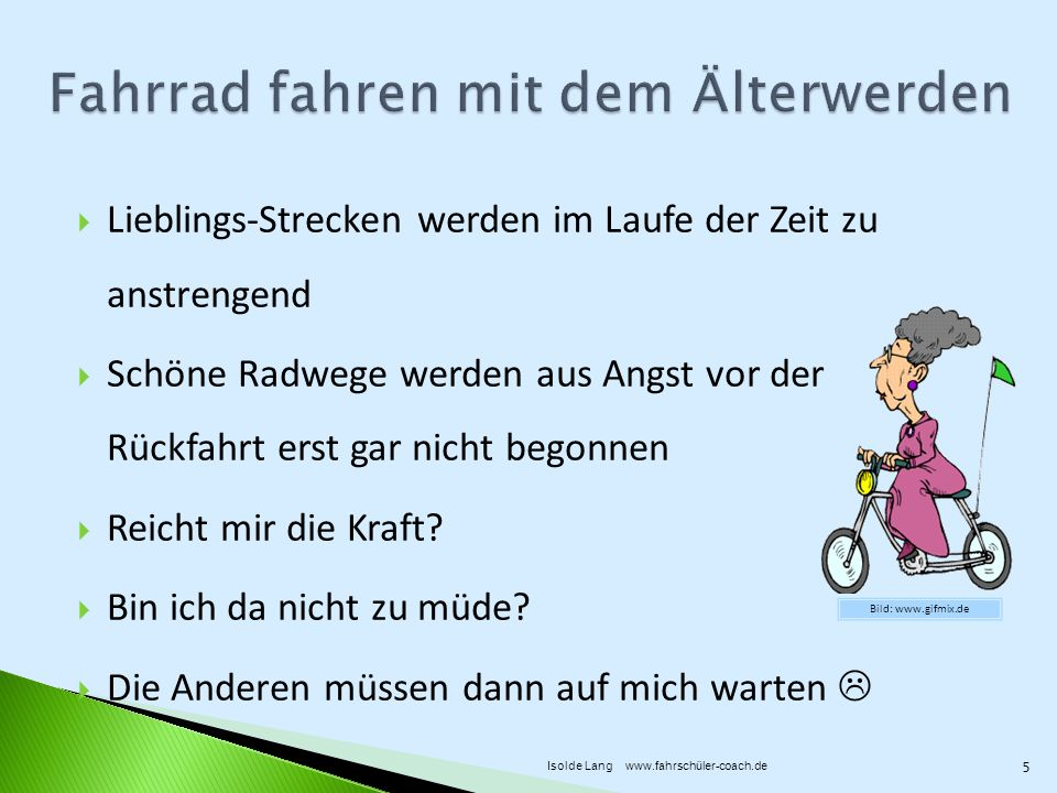 Fahrrad fahren mit dem Älterwerden