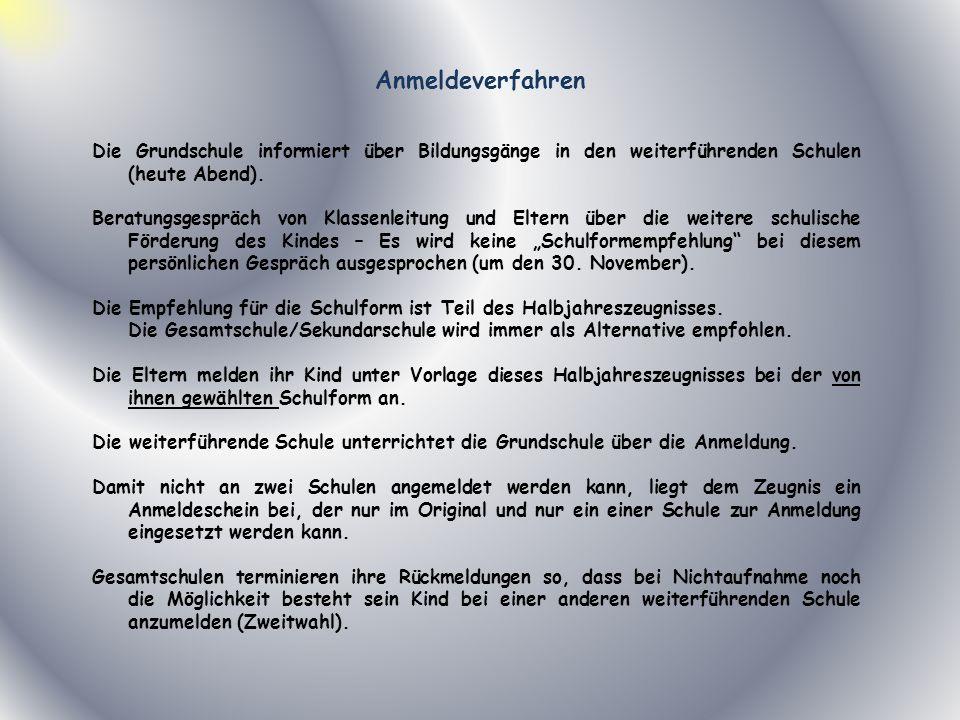 AnmeldeverfahrenDie Grundschule informiert über Bildungsgänge in den weiterführenden Schulen (heute Abend).