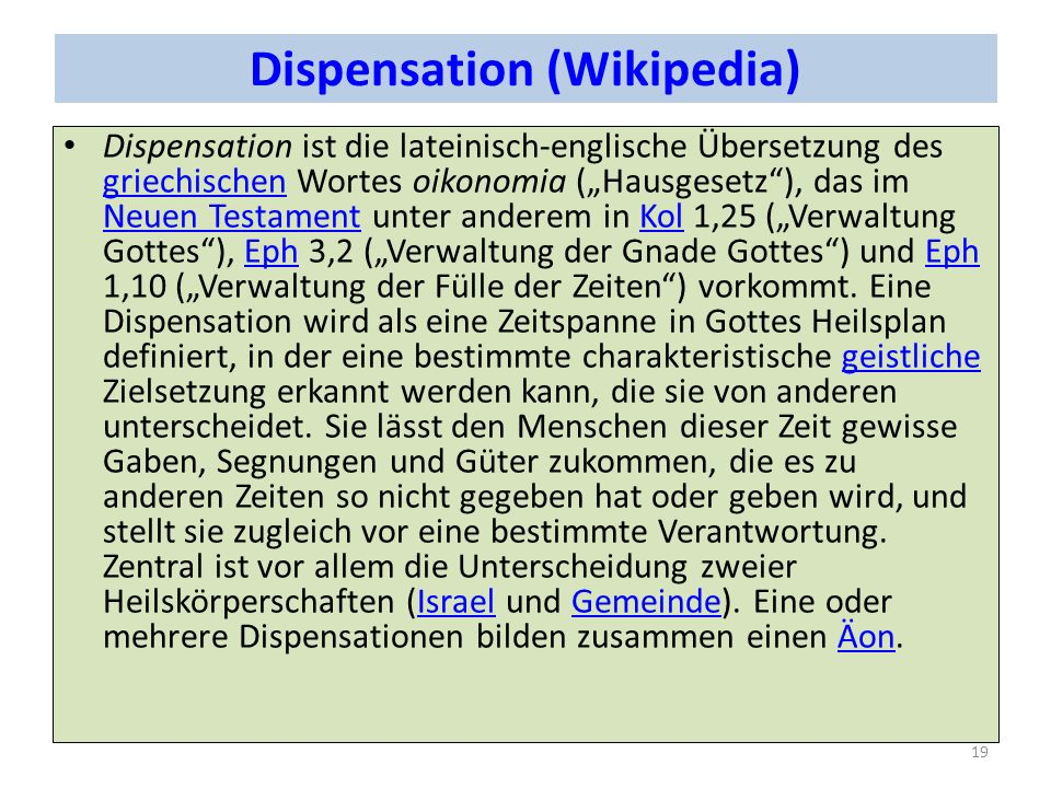 Dispensation (Wikipedia)