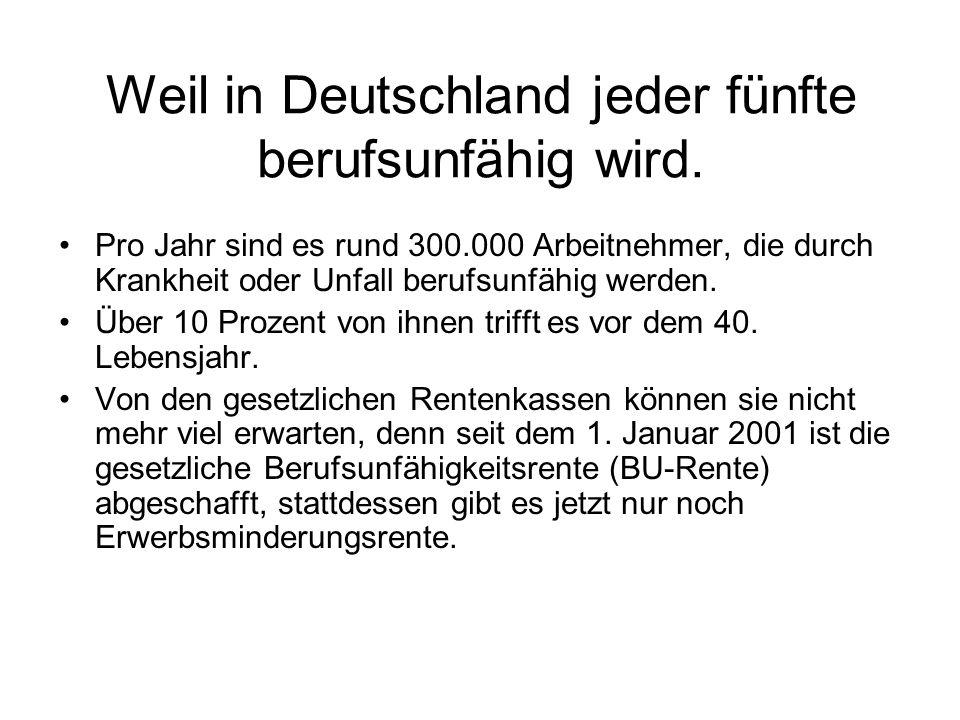 Weil in Deutschland jeder fünfte berufsunfähig wird.