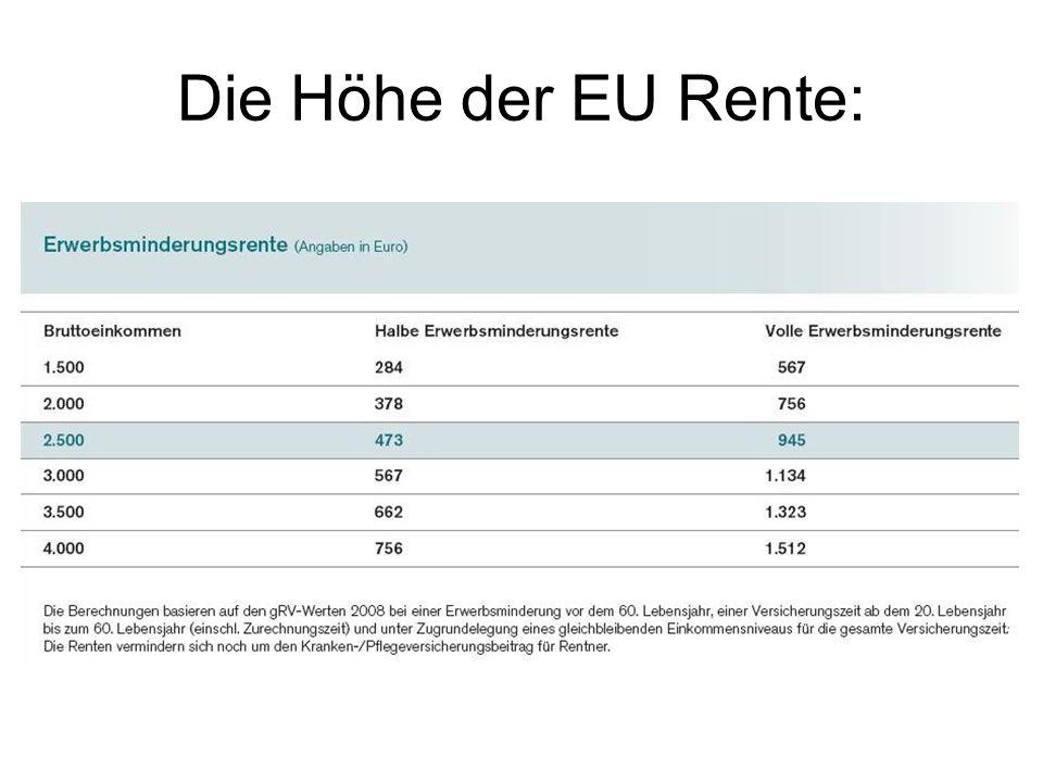 Die Höhe der EU Rente: