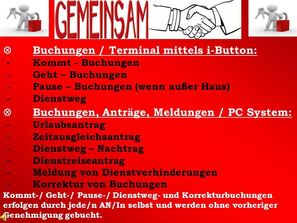 V. Buchungen / Terminal mittels i-Button: -. Kommt - Buchungen -