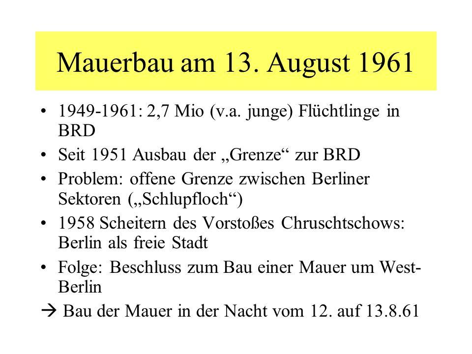 """Mauerbau am 13. August 1961 1949-1961: 2,7 Mio (v.a. junge) Flüchtlinge in BRD. Seit 1951 Ausbau der """"Grenze zur BRD."""
