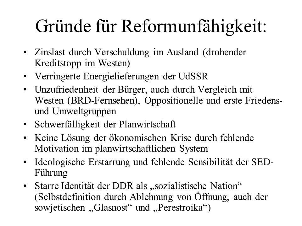 Gründe für Reformunfähigkeit: