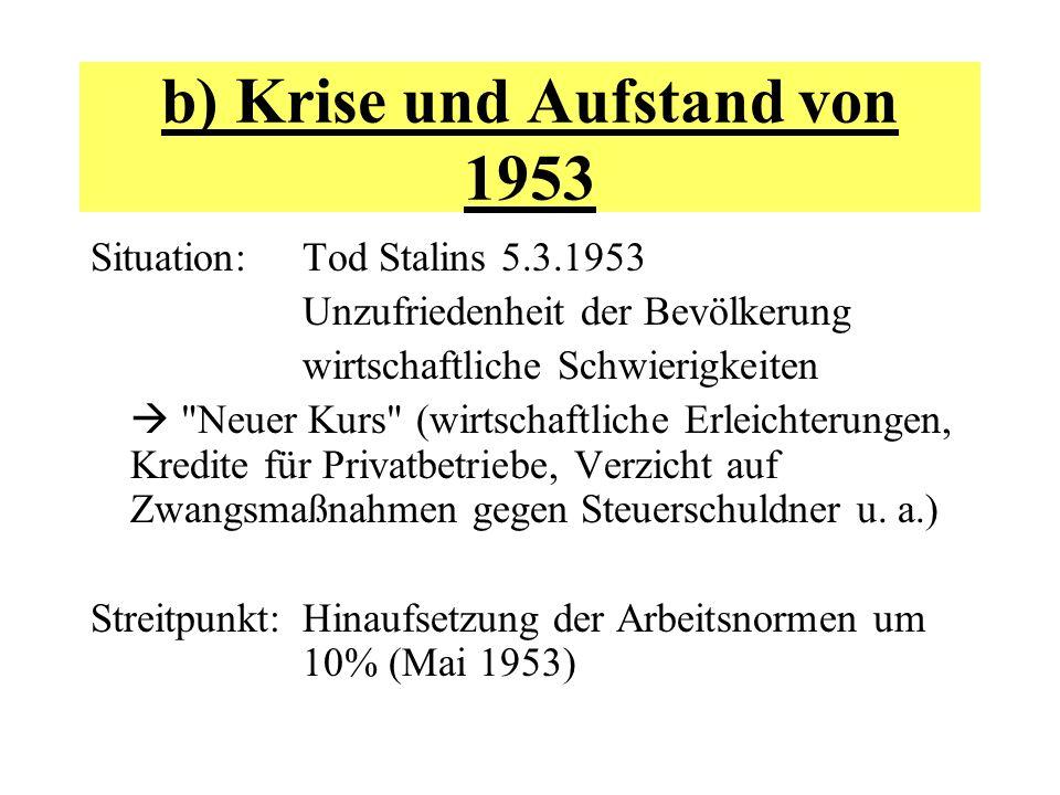 b) Krise und Aufstand von 1953