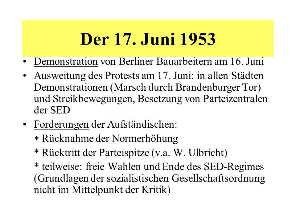 Der 17. Juni 1953 Demonstration von Berliner Bauarbeitern am 16. Juni