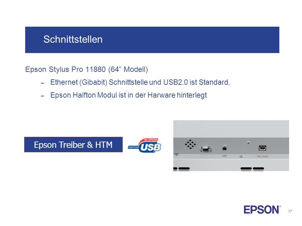 Schnittstellen Epson Treiber & HTM Epson Stylus Pro 11880 (64 Modell)