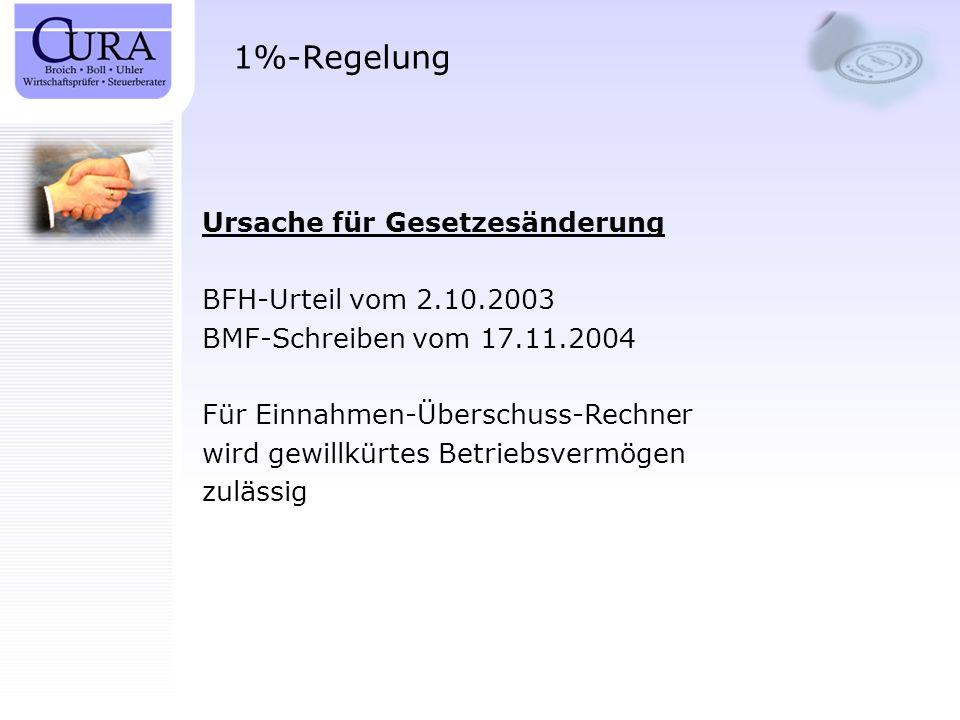 1%-Regelung Ursache für Gesetzesänderung BFH-Urteil vom 2.10.2003