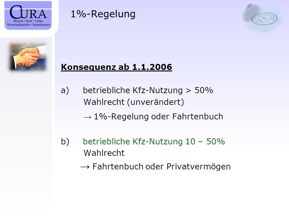 1%-Regelung Konsequenz ab 1.1.2006 betriebliche Kfz-Nutzung > 50%