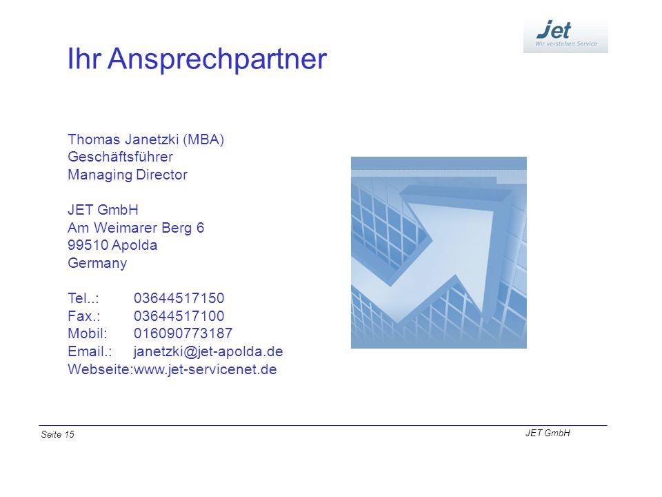 Ihr Ansprechpartner Thomas Janetzki (MBA) Geschäftsführer