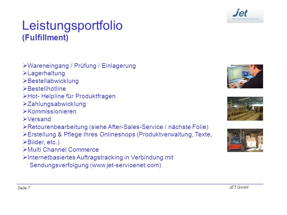 Leistungsportfolio (Fulfillment) Wareneingang / Prüfung / Einlagerung