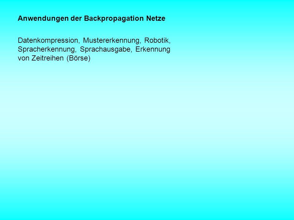 Anwendungen der Backpropagation Netze