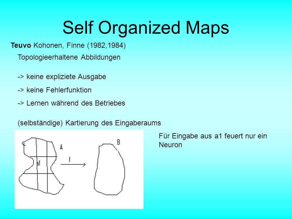 Self Organized Maps Teuvo Kohonen, Finne (1982,1984)