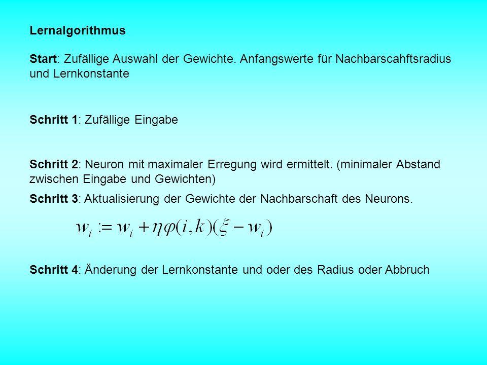 Lernalgorithmus Start: Zufällige Auswahl der Gewichte. Anfangswerte für Nachbarscahftsradius und Lernkonstante.