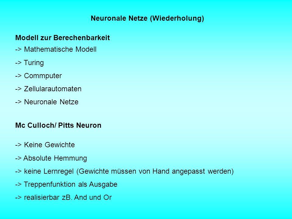 Neuronale Netze (Wiederholung)