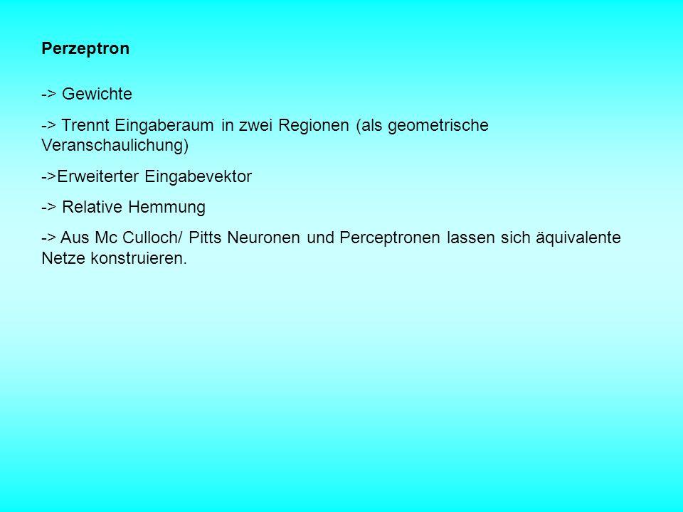 Perzeptron -> Gewichte. -> Trennt Eingaberaum in zwei Regionen (als geometrische Veranschaulichung)