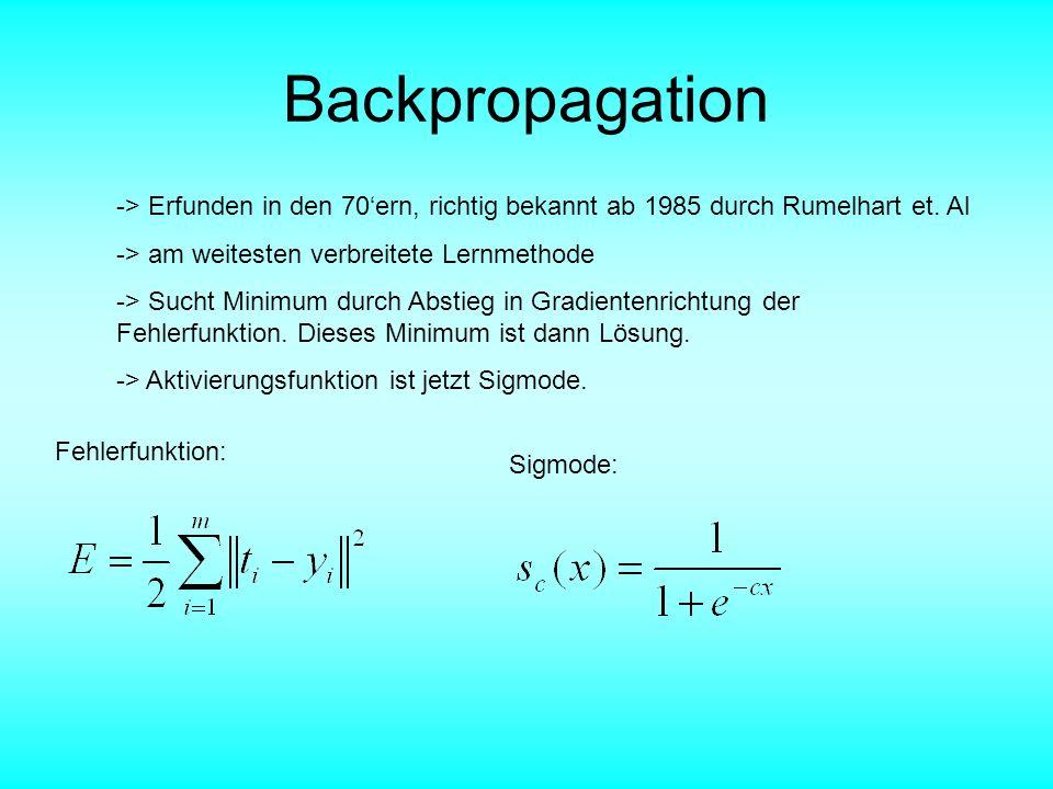 Backpropagation -> Erfunden in den 70'ern, richtig bekannt ab 1985 durch Rumelhart et. Al. -> am weitesten verbreitete Lernmethode.