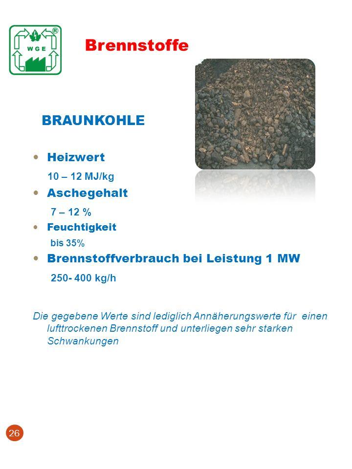 Brennstoffe BRAUNKOHLE 10 – 12 MJ/kg 7 – 12 % 250- 400 kg/h Heizwert