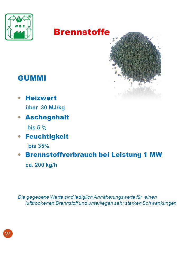 Brennstoffe GUMMI über 30 MJ/kg bis 5 % ca. 200 kg/h Heizwert