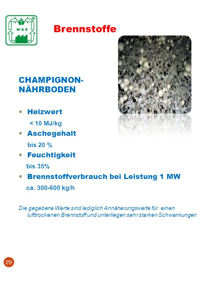 Brennstoffe CHAMPIGNON- NÄHRBODEN < 10 MJ/kg bis 20 % bis 35%