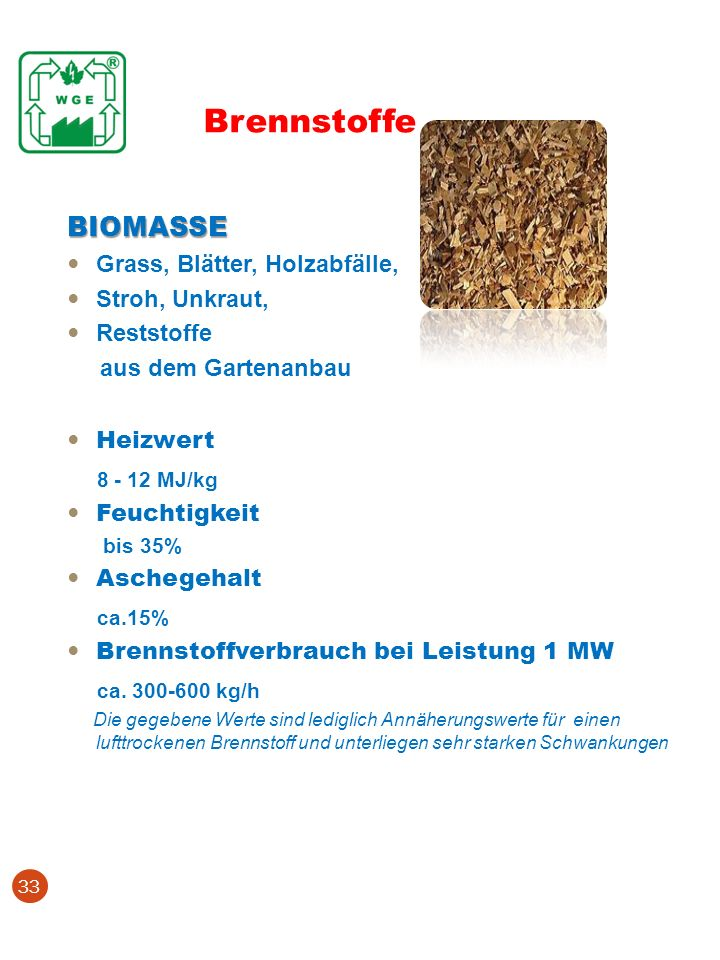 Brennstoffe BIOMASSE 8 - 12 MJ/kg ca.15% ca. 300-600 kg/h