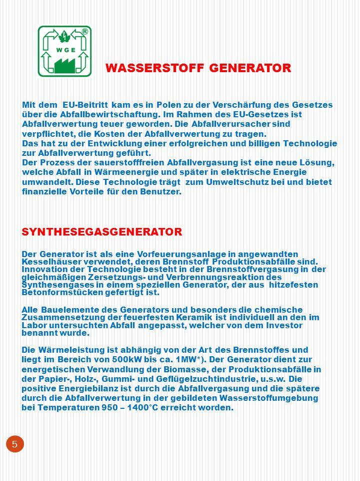 WASSERSTOFF GENERATOR