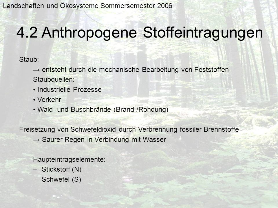 4.2 Anthropogene Stoffeintragungen