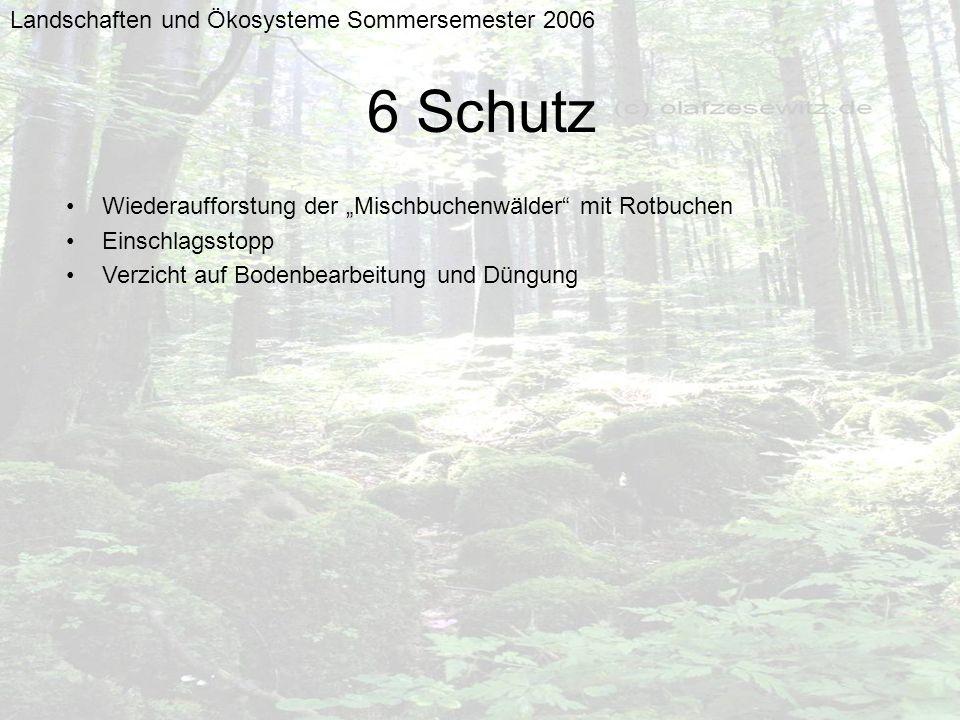 6 Schutz Landschaften und Ökosysteme Sommersemester 2006