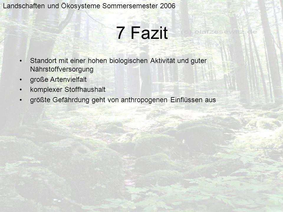 7 Fazit Landschaften und Ökosysteme Sommersemester 2006
