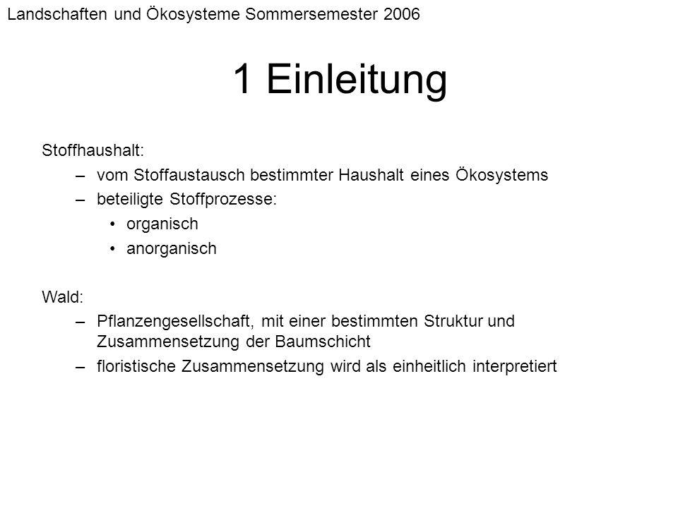 1 Einleitung Landschaften und Ökosysteme Sommersemester 2006