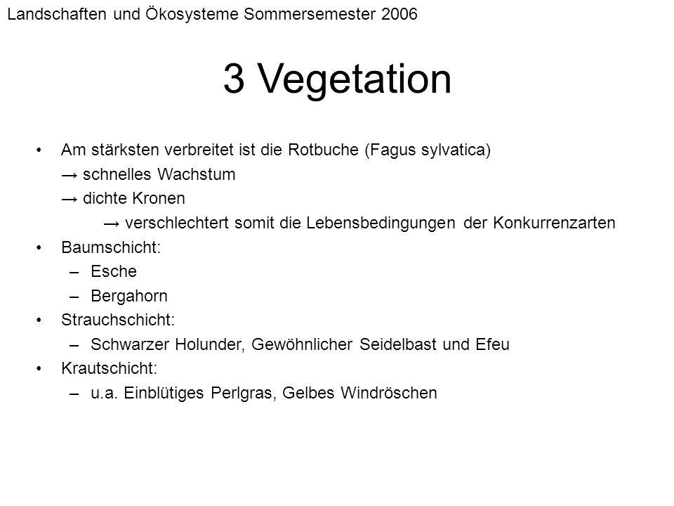 3 Vegetation Landschaften und Ökosysteme Sommersemester 2006