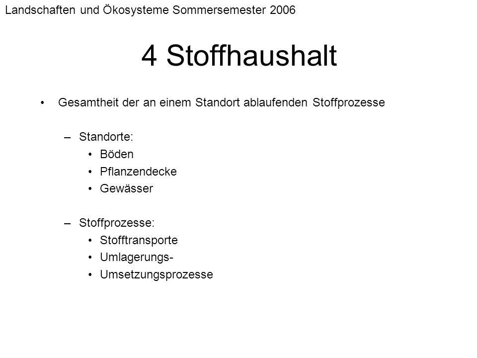 4 Stoffhaushalt Landschaften und Ökosysteme Sommersemester 2006