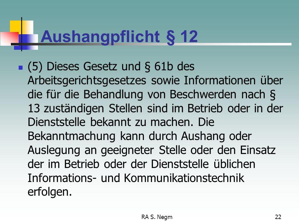 Aushangpflicht § 12